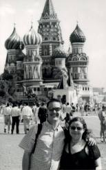Ali and Mark in Red Square in Moscow, Russia
