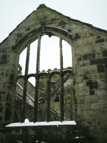 The ruins of St Thomas a Becket church in Heptsonstall, West Yorkshire, England
