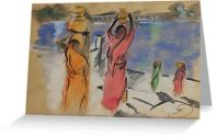Women carrying water from Pushkar Lake card for RedBubble