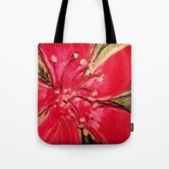 Red Hibiscus Detail - tote bag for Society6