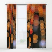 Blurred Orange Lights - window curtains for Society6