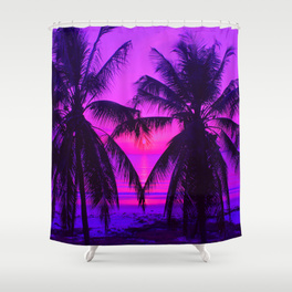 Pink Palm Trees by the Indian Ocean - shower curtain
