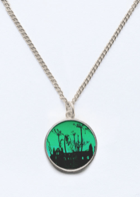 Whitby Abbey in Green - beveled circle pendant