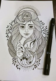 Pen and ink drawing by Ivona Harcarova