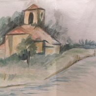 Watercolour of a chapel in Secadura in Cantabria, Spain by Panchali Mukherjea