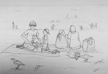 Sketch on the beach in St Ives by Lisa Davies
