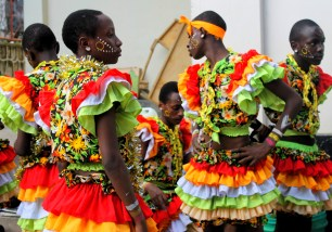Performers backstage at the Kenyan Drama Festival in Mwanza, Tanzania