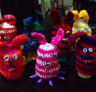My army of crocheted Easter bunny boiled egg cozies