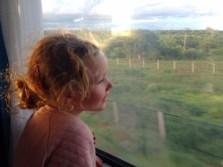 Frida admiring the view on the Madaraka Express Mombasa-Nairobi Standard Gauge Railway