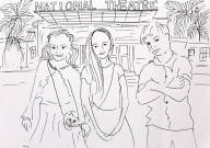 Sketch of Lottie, Leon and Frida at National Theatre in Nairobi, Kenya