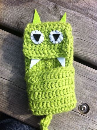 crocheted creature iphone holder