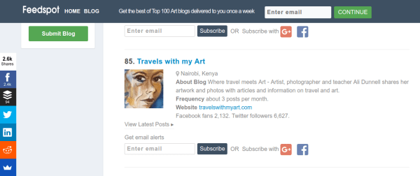 Travels with my Art named as one of the top 100 Art Blogs in the world by Feedspot