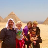 Ali and family at the Pyramids in Cairo, Egypt