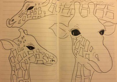 My sketches of giraffes at Nairobi's Giraffe Centre from my Kenyan sketchbook