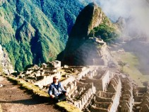 A little meditation after the four-day-hike to Machu Picchu in Peru