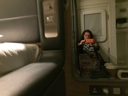 Me in my pod at Yotelair Hotel at Heathrow Terminal 4 in London