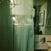 Sleeping in my pod at Yotelair Hotel at Heathrow Terminal 4 in London