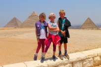 Lottie, Leon and Frida at the Pyramids in Cairo, Egypt