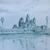 Sketch of Angkor Wat in Cambodia