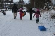 Walking back home after sledging in Spånga, Stockholm