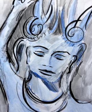 Apsara from the walls of Angkor Wat from my Cambodian sketchbook