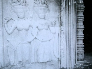 Some of the many Apsara bas reliefs at Angkor Wat in Cambodia