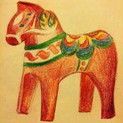 Coloured pencil sketch of the dalarna horse