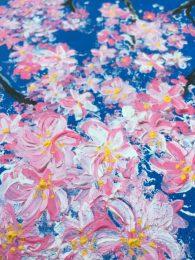 Blossom against blue sky (acrylic on canvas)