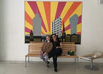 Me and Frida and the finished Kista's Three Towers mural at IES Kista
