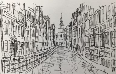 Sketch of a canal in Amsterdam