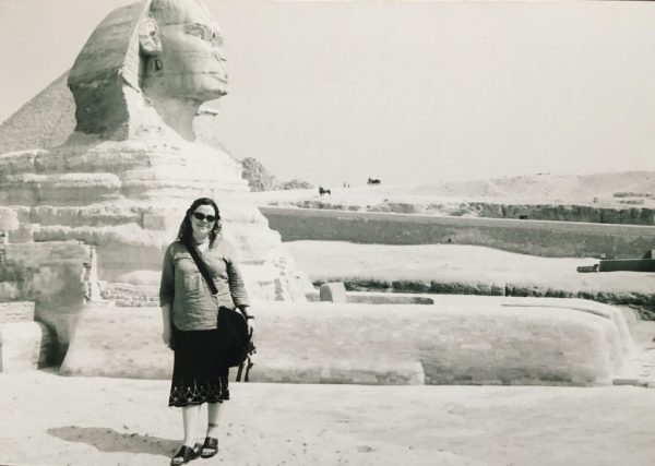 Ali and the Great Sphinx of Giza in Cairo, Egypt