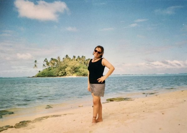 Paddling in the Pacific Ocean in the Cook Islands
