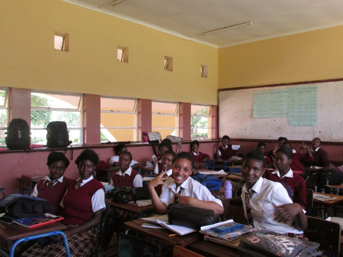 Photo in classroom of students at Kablunga Girls' School.