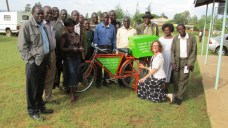 Library Committee with bicycle donated to them by Maria's Libraries.