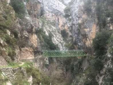 Precarious bridge on the Cares River trail