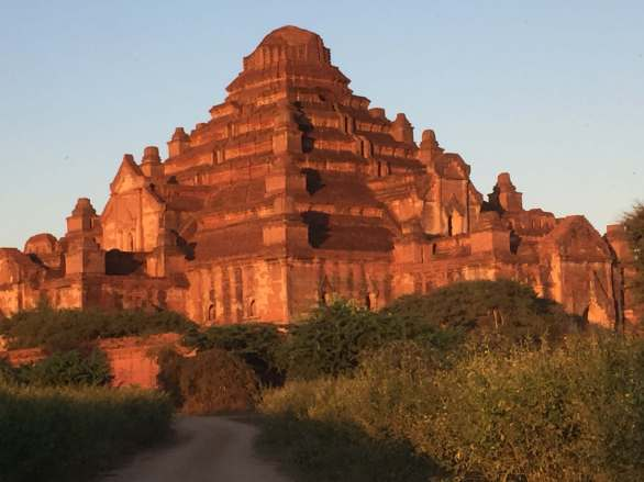 Bagan temples at dusk in Myanmar.