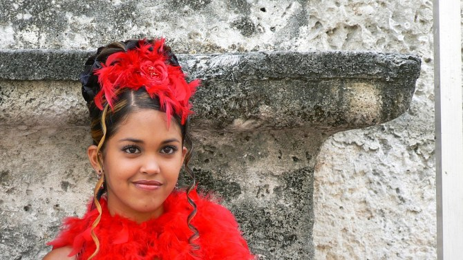 Girl in plaza in Cuba