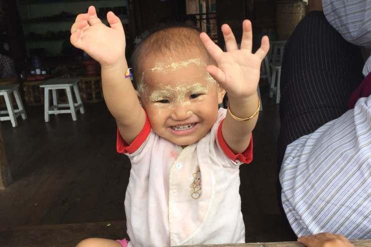 Happy little girl in Myanmar around Lake Inle