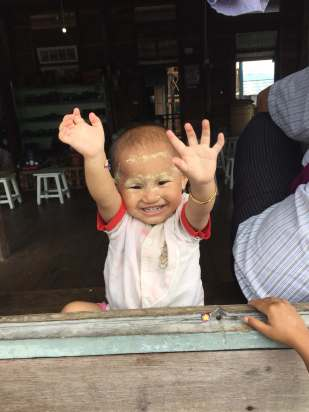 Happy little girl in Myanmar around Lake Inle