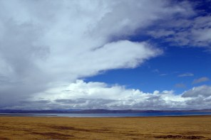 Lake Namtso on a journey to Tibet across Central China on the journey to Tibet