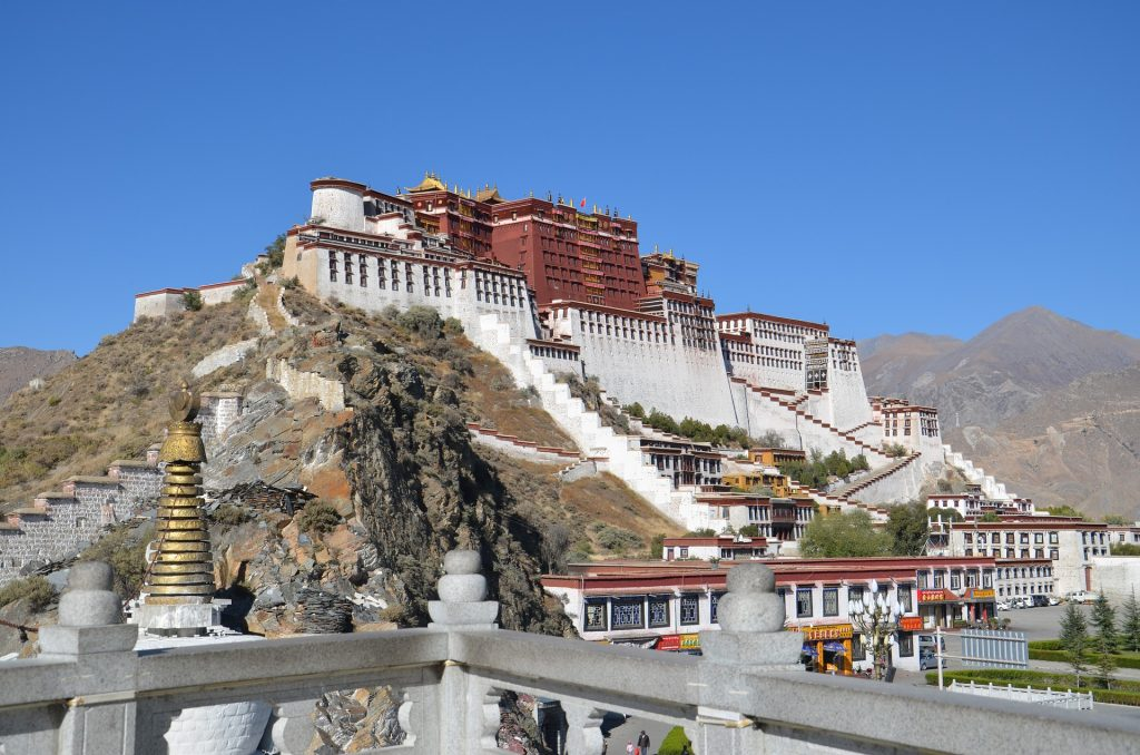 Things to do in Tibet. Lhasa, Tibet Potala Palace at the end of the journey to Tibet across central China