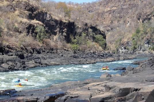 Rafting down the Zambezi River