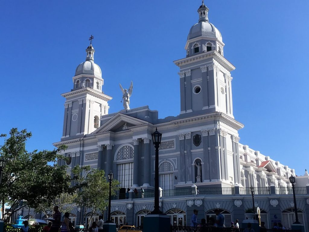 Santiago Cathedral on Plaza Cespedes. Santiago de Cuba activities.