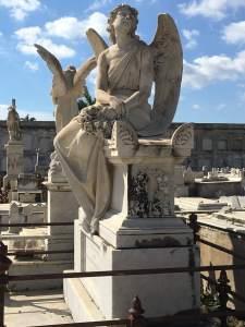 Lone angel sculpture in Cienfuegos cemetery