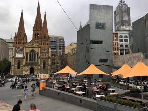 Head to Federation Square, in the center of Melbourne