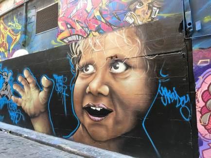 Baby street art in Melbourbe