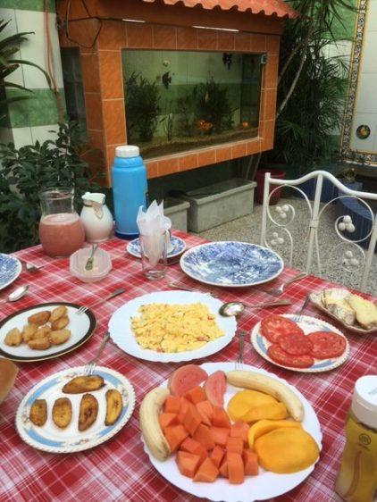 Santiago breakfast in an open courtyard