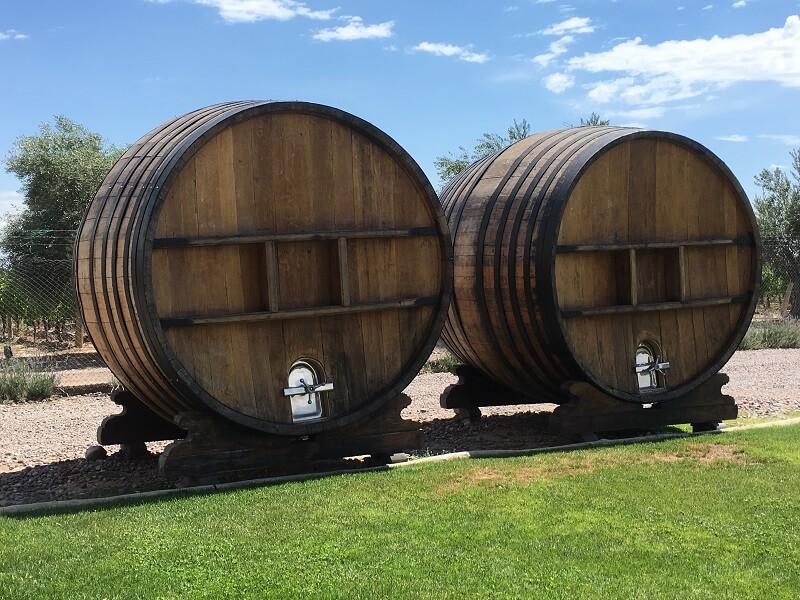 Wine barrels in the Mendoza wine region