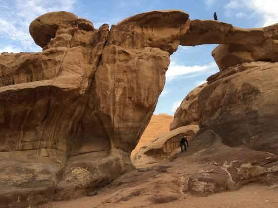 Rock bridge in desert camp