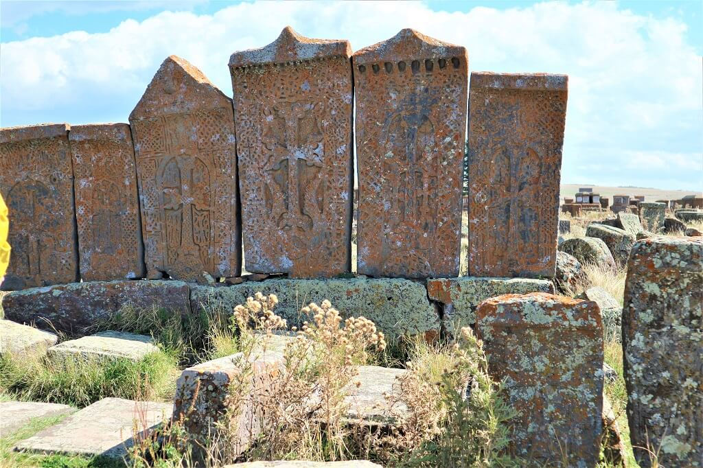 four khachkars in Noratus cemetery, Armenia